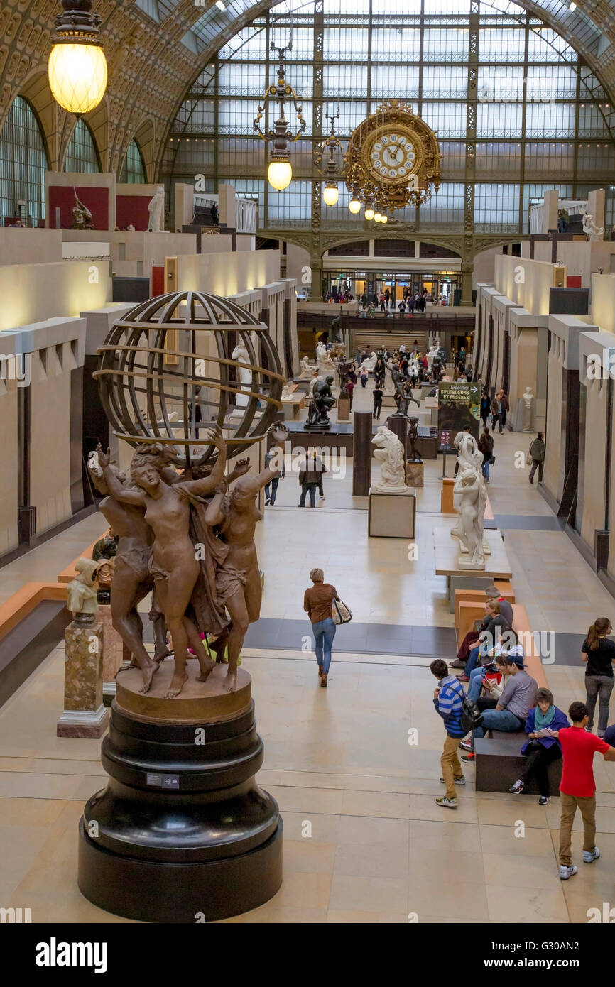 Interior of Musee D'Orsay Museum and Art Gallery, Paris, France, Europe - Stock Image