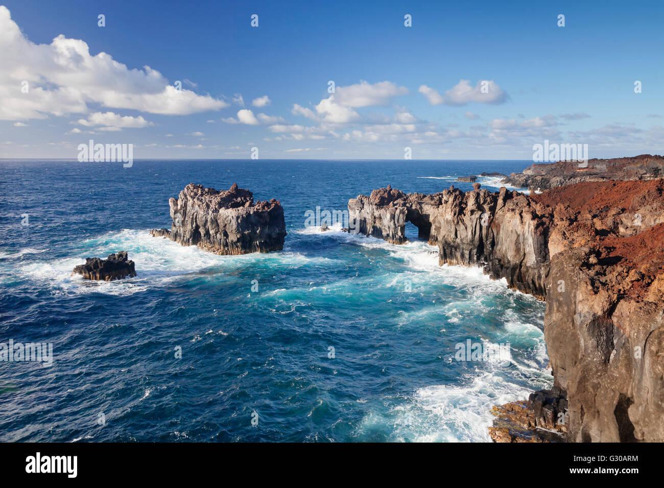 Puntas de Gutierrez, lava coast, UNESCO Biosphere Reserve, El Hierro, Canary Islands, Spain, Atlantic, Europe - Stock Image