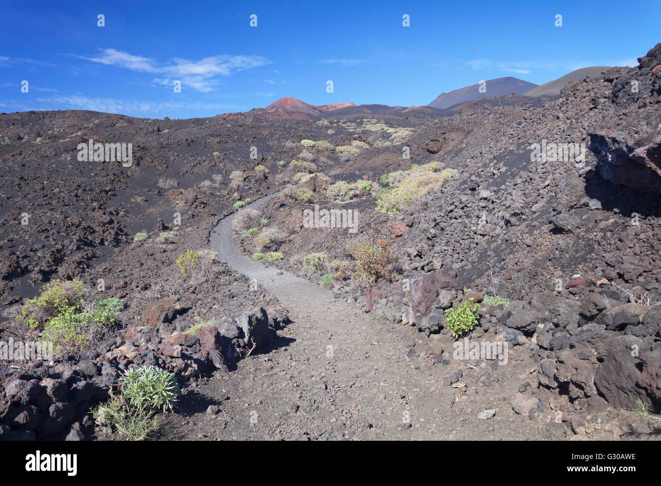 Ruta de los Volcanes, Teneguia Volcano left, Monumento Natural de los Volcanes de Teneguia, La Palma, Canary Islands - Stock Image