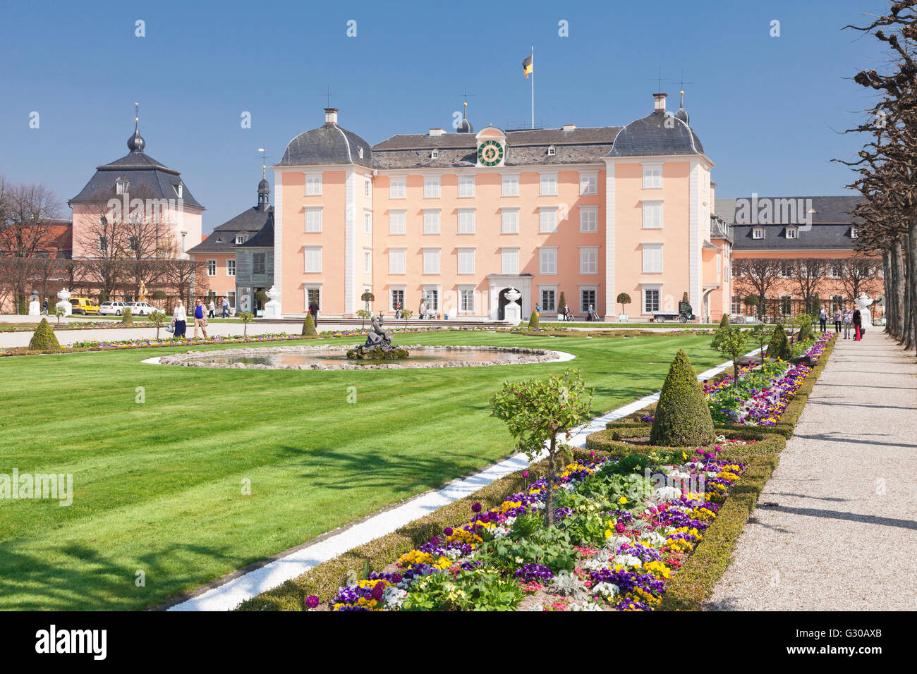 Schloss Schwetzingen Palace, Baroque Garden, Schwetzingen, Baden-Wurttemberg, Germany, Europe - Stock Image