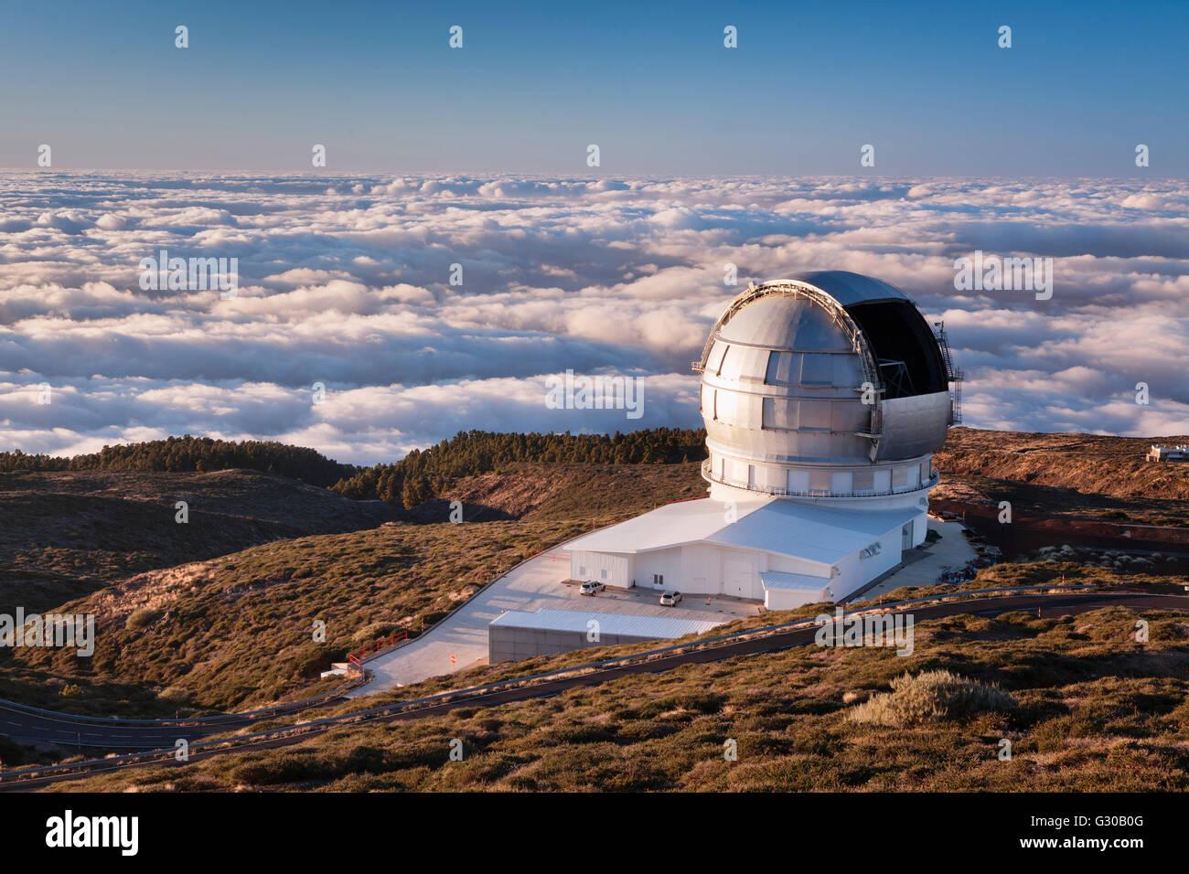 Gran Telescopio Canarias, Roque de los Muchachos, Parque Nacional de la Caldera de Taburiente, La Palma, Canary - Stock Image