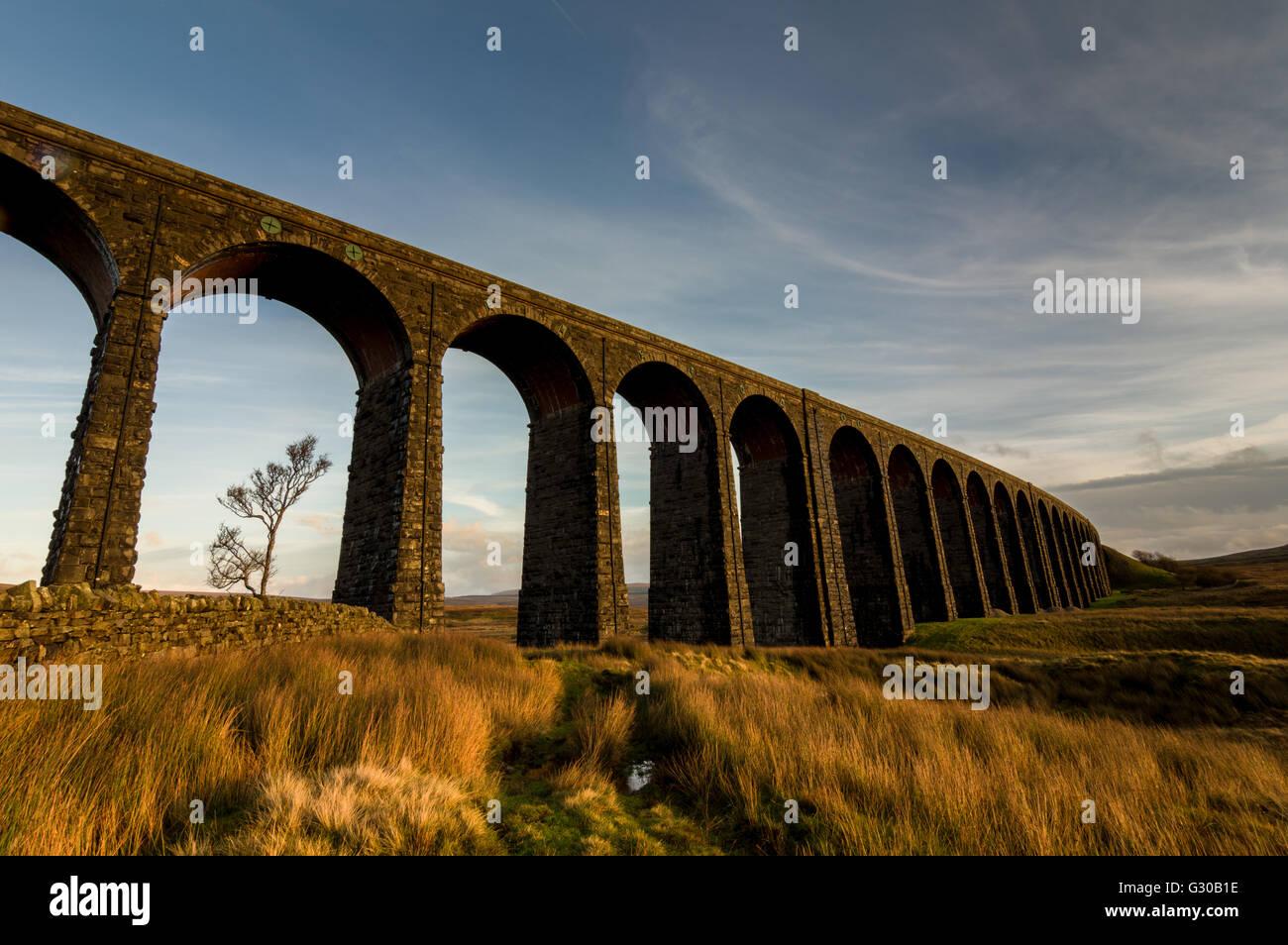 Ribblehead Viaduct, sunset, Yorkshire Dales National Park, Yorkshire, England, United Kingdom, Europe - Stock Image