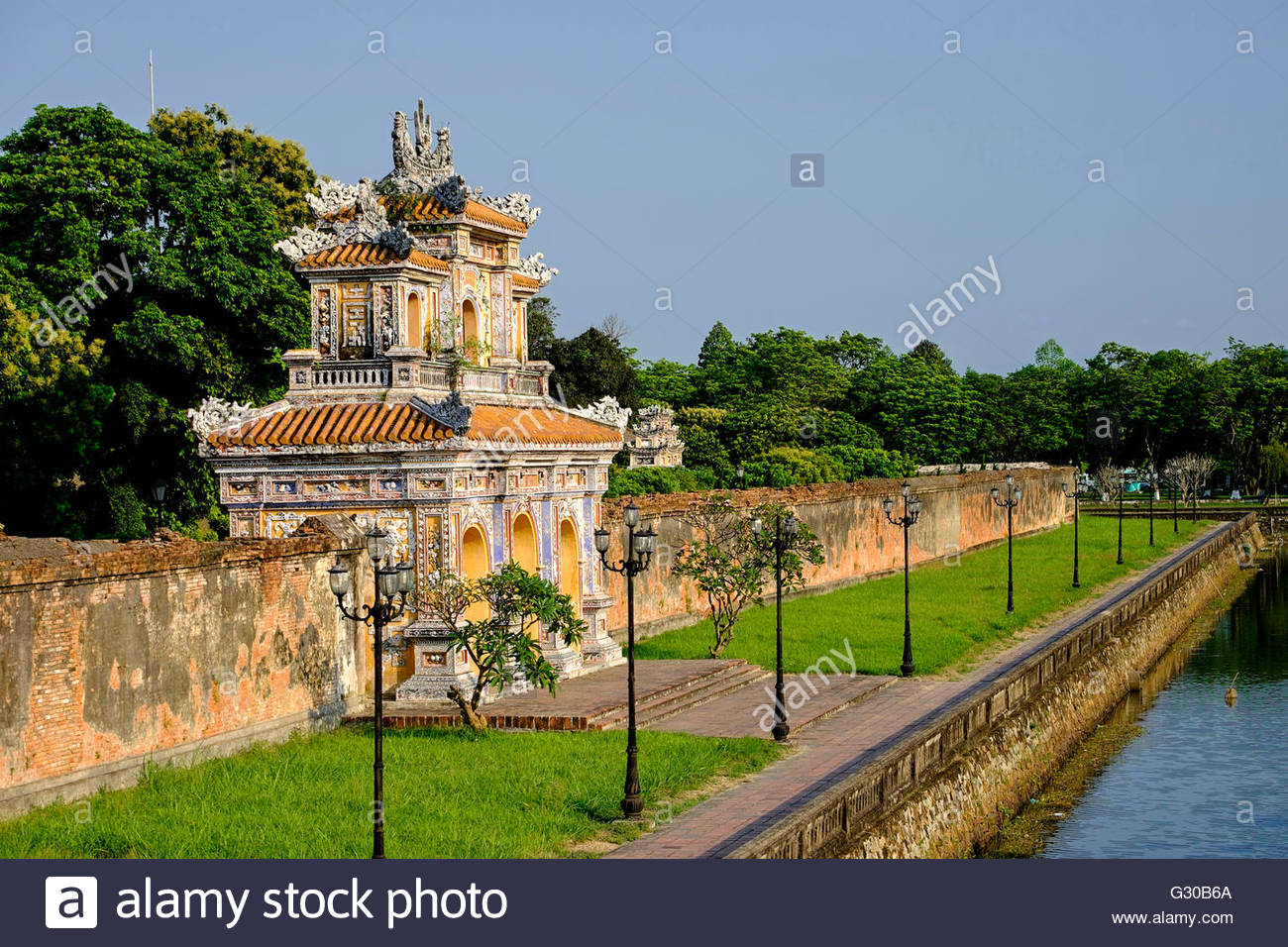 Western moats, the Forbidden City (Purple City) in the heart of the Imperial City, UNESCO, Hue, Thua Thien Hue province, - Stock Image
