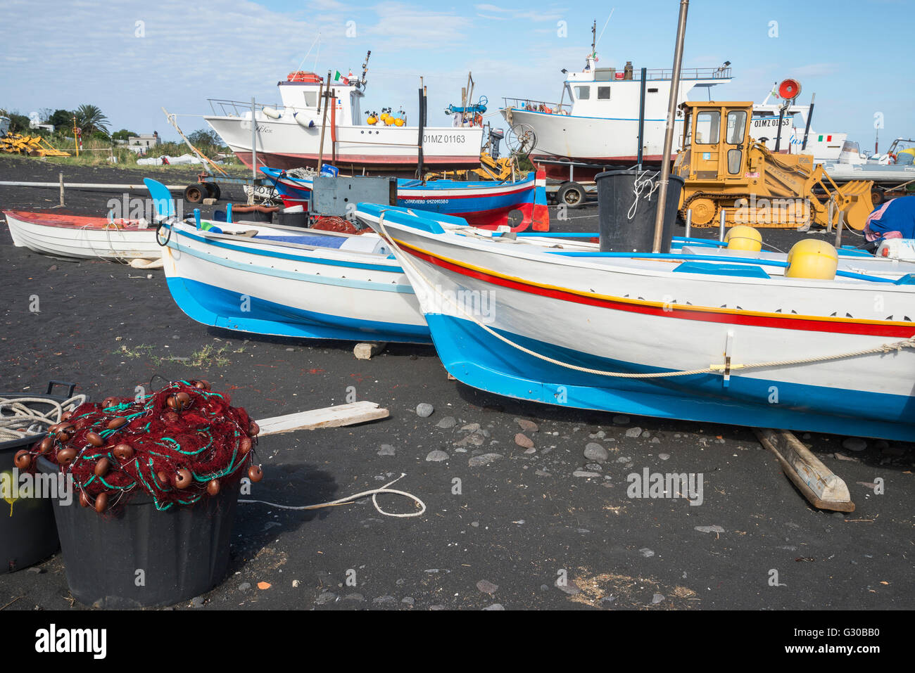Fishing boats, Stromboli, Aeolian Islands, UNESCO World Heritage Site, Sicily, Italy, Mediterranean, Europe - Stock Image