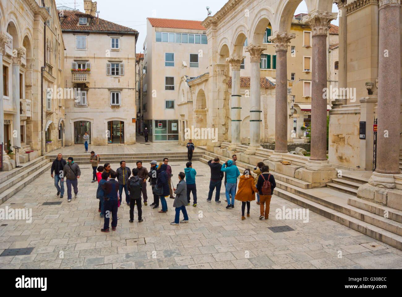 Peristil, Peristyle, main square of the palace area, Grad, old town, Split, Dalmatia, Croatia - Stock Image