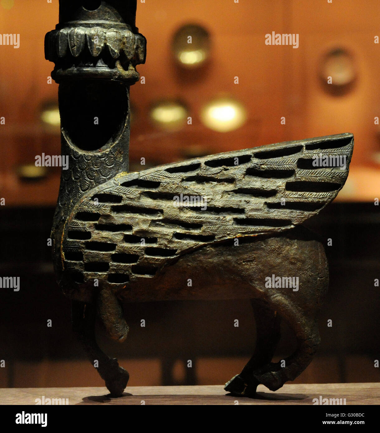 Kingdom of Urartu. Element from throne of a divinity. Bronze. From ancient Rusahinili (Toprakkale, Turkey).  8th - Stock Image