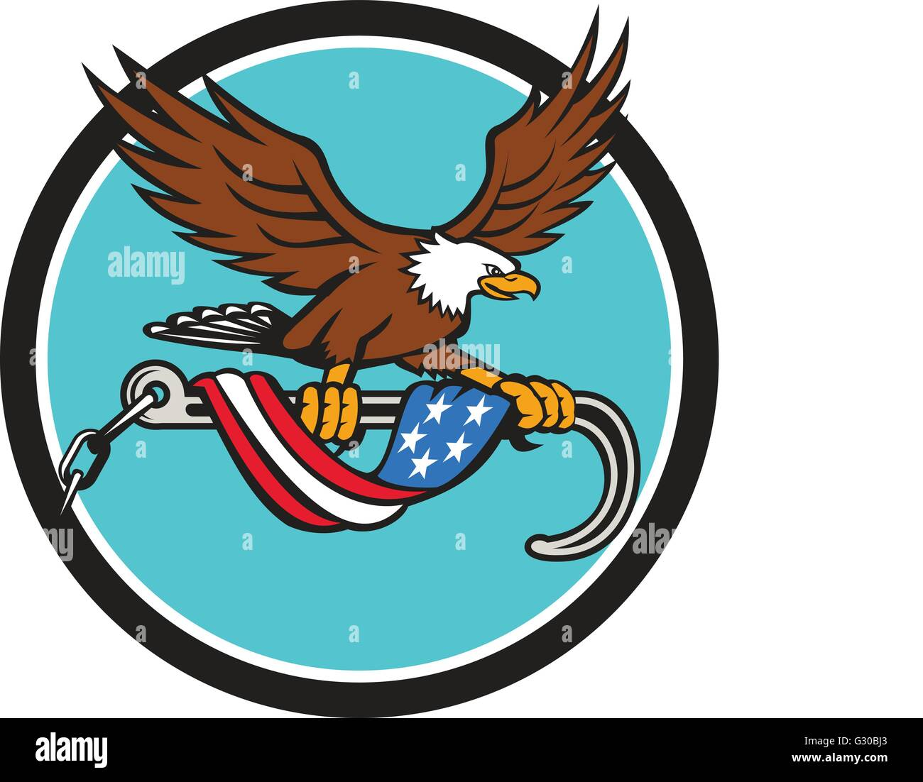 Illustration of an american bald eagle clutching with its talon a towing j hook with chains draped with usa american Stock Vector