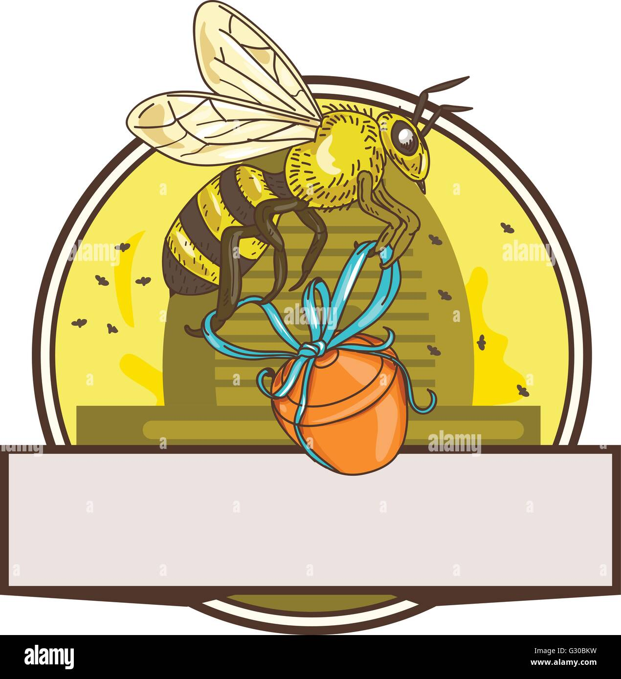 Drawing sketch style illustration of a worker honey bee carrying a honey pot with ribbon with skep in the background - Stock Vector