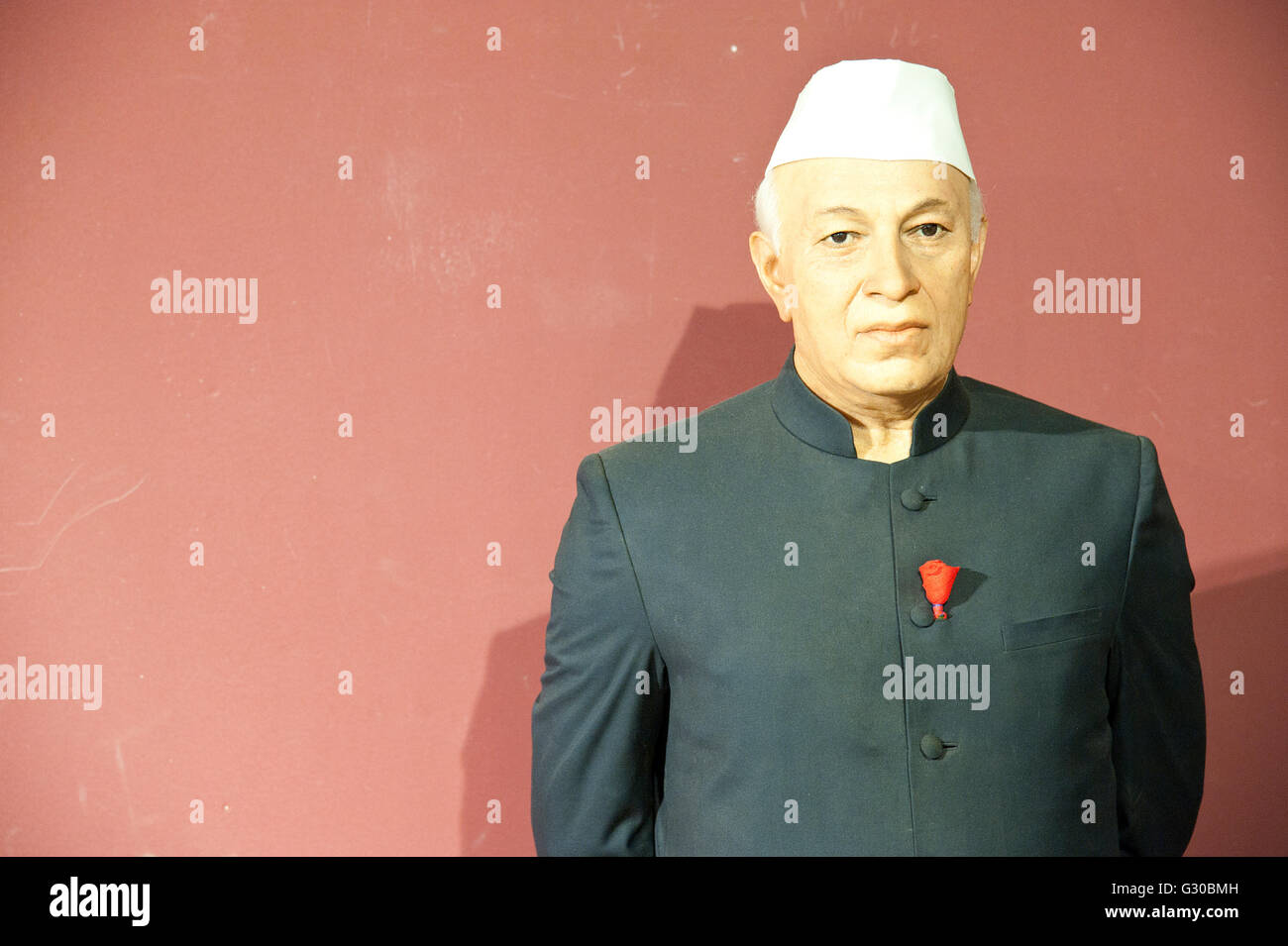 The image of Jawaharlal Nehru wax statue in Lonavala wax Museum, India - Stock Image