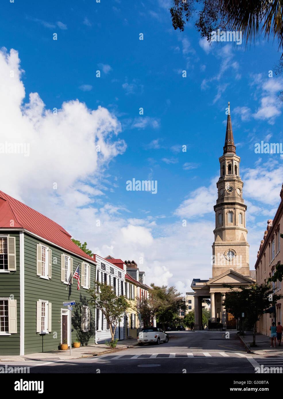 View towards St. Philip's Episcopal Church on Church Street, Charleston, South Carolina, United States of America, - Stock Image