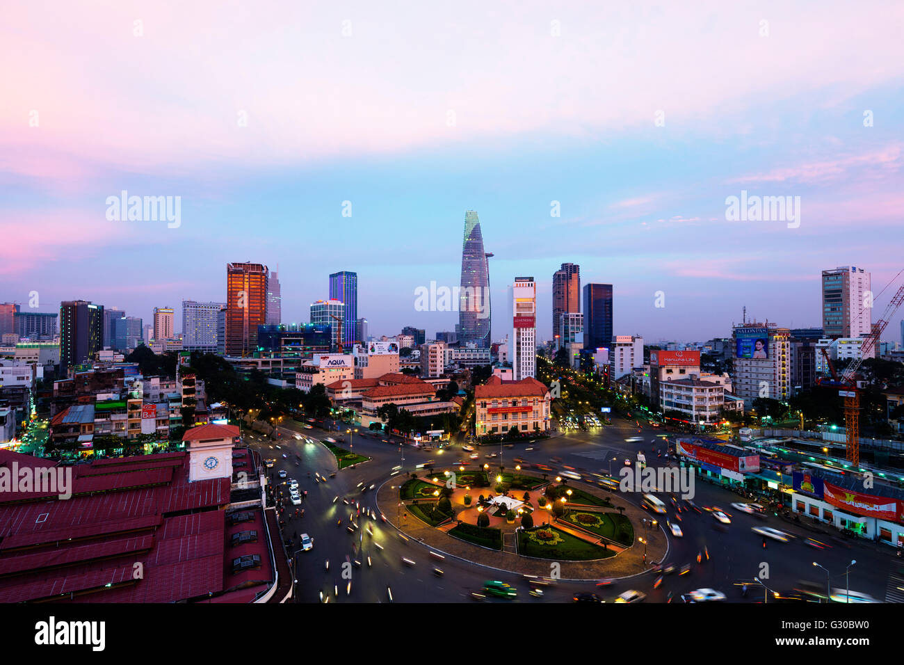Ben Thanh market area and Bitexco Financial Tower, Ho Chi Minh City (Saigon), Vietnam, Indochina, Southeast Asia, Stock Photo