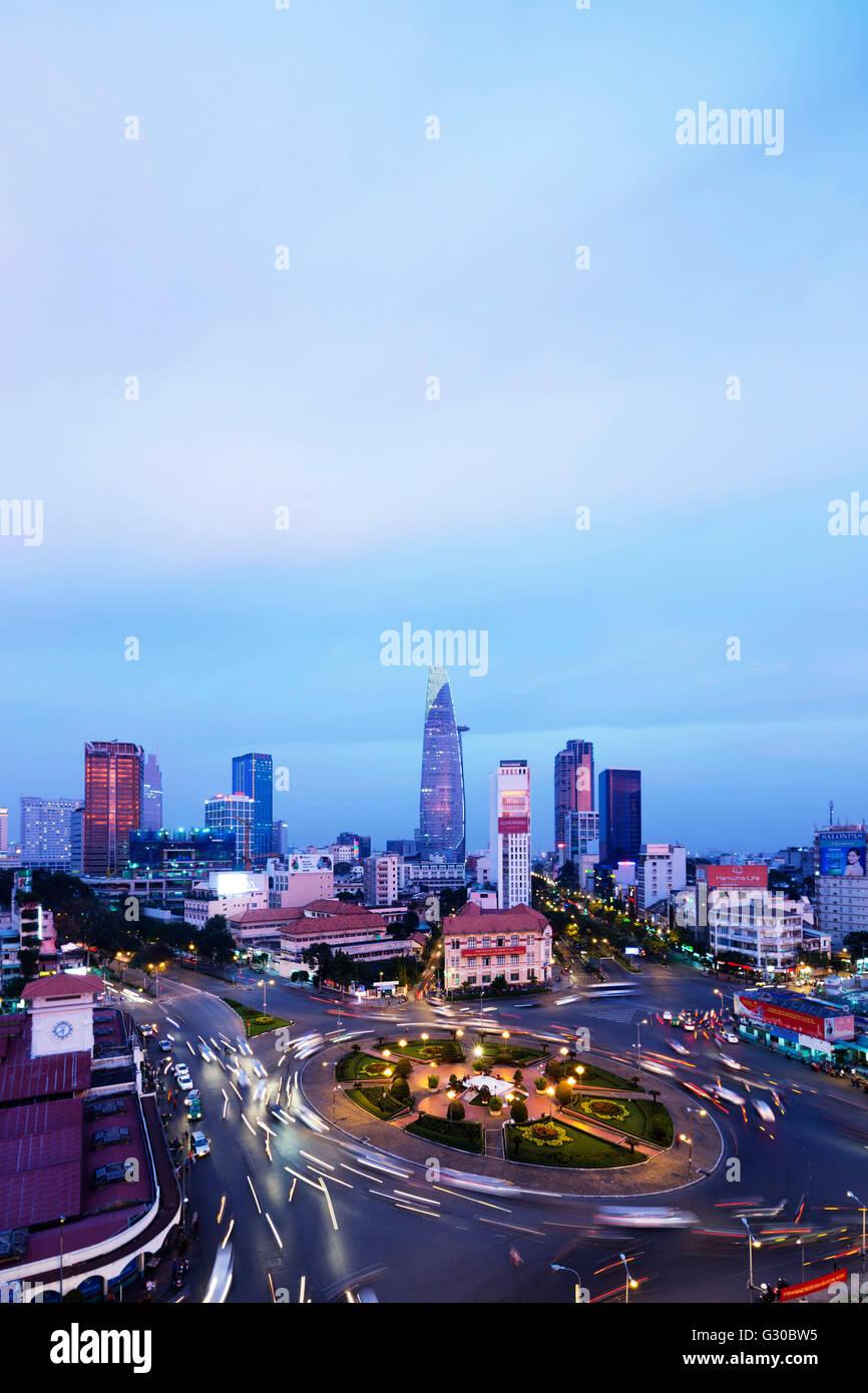 Ben Thanh market area and Bitexco Financial Tower, Ho Chi Minh City (Saigon), Vietnam, Indochina, Southeast Asia, Stock Photo