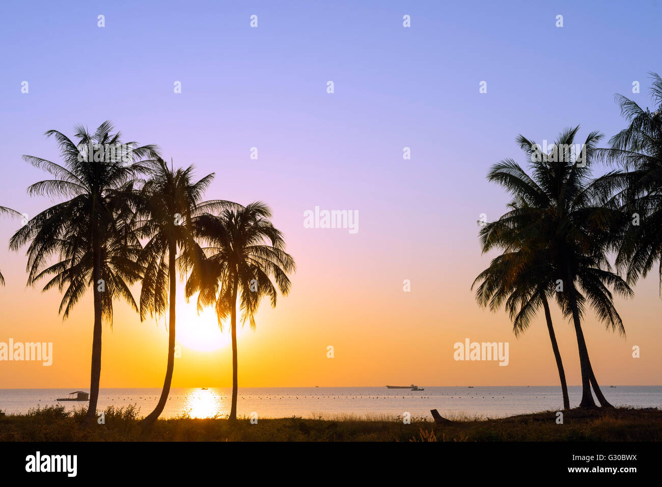 Sunset at Long Beach, Phu Quoc Island, Vietnam, Indochina, Southeast Asia, Asia - Stock Image