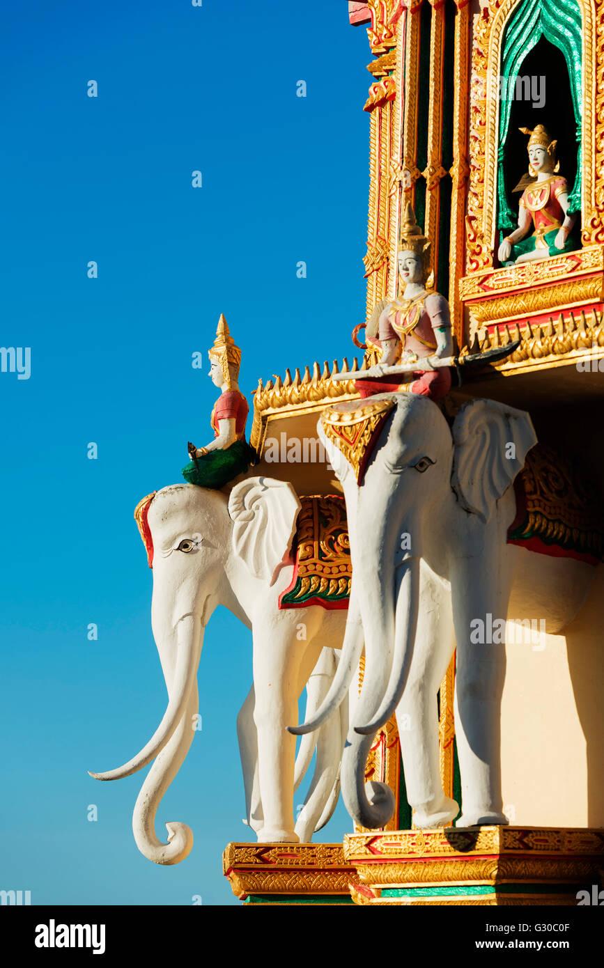 Elephant detail, Wat Tham Sua temple, Kanchanaburi, Thailand, Southeast Asia, Asia - Stock Image