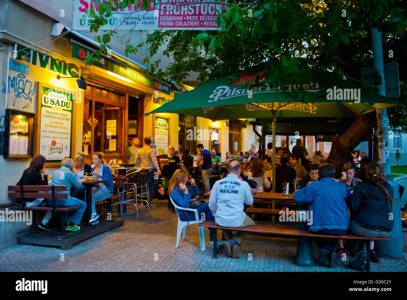 U Sadu, restaurant with large outdoor area, Zizkov, Prague, Czech Republic, Europe - Stock Image