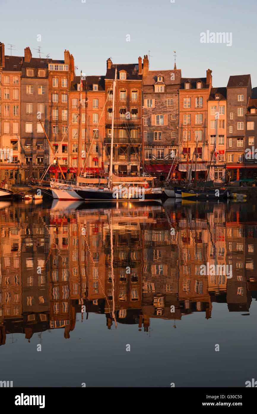 Saint Catherine Quay in the Vieux Bassin at sunrise, Honfleur, Normandy, France, Europe - Stock Image