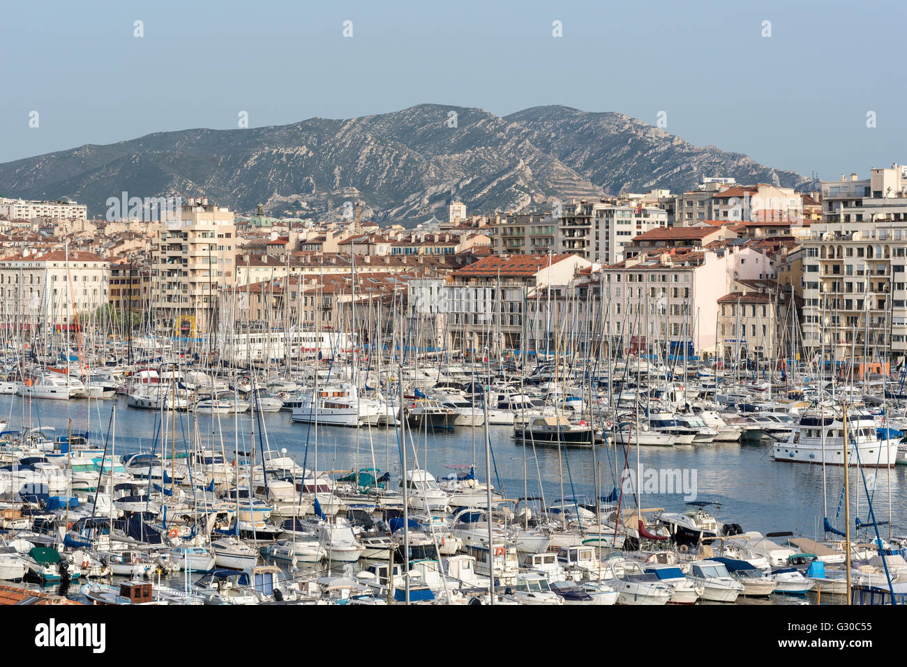The old port of Marseille (Vieux Port) in Marseille, Bouches-du-Rhone, Provence, France, Mediterranean, Europe - Stock Image