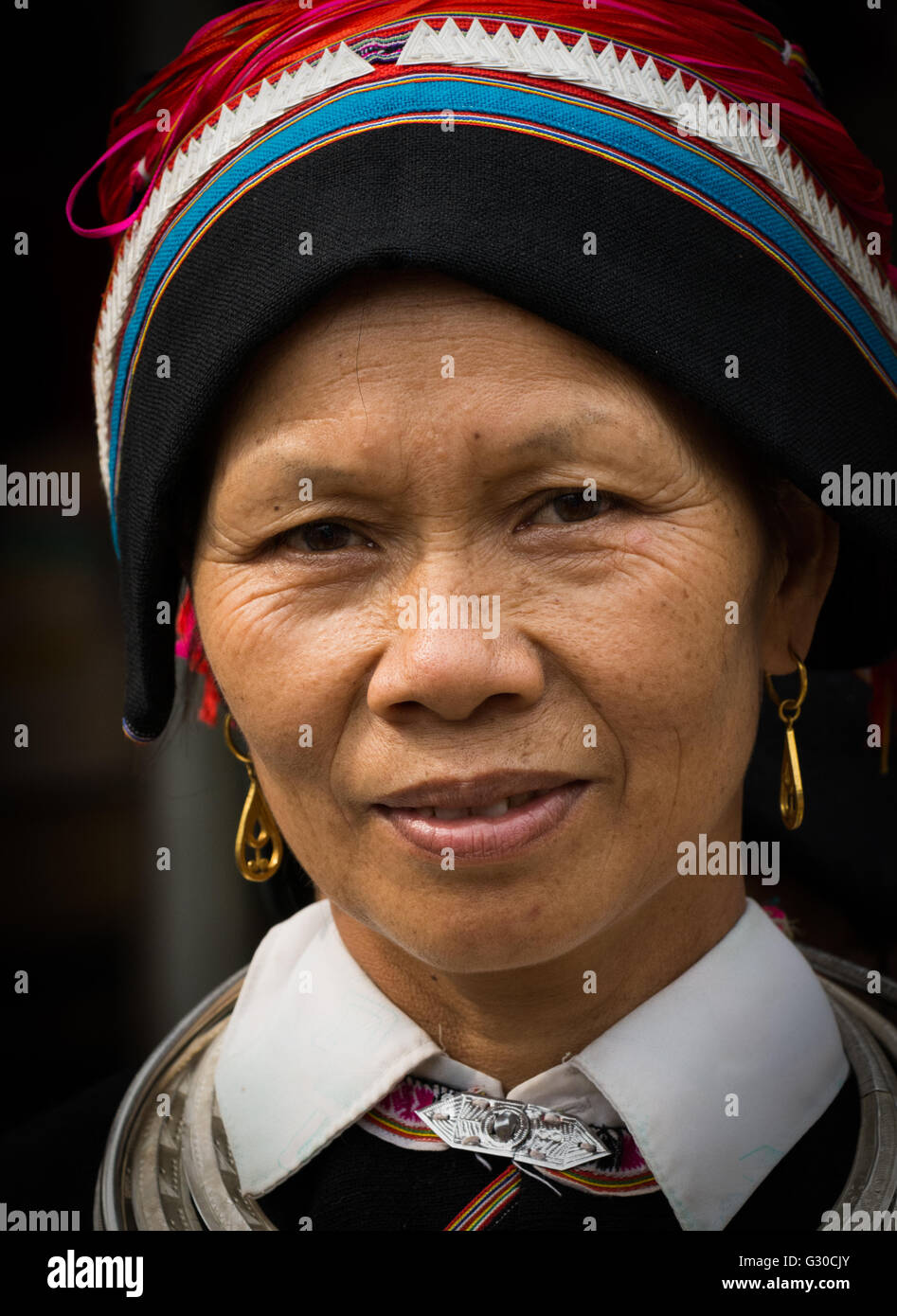 Portrait of a Tay tribeswoman in Ha Giang, Vietnam. - Stock Image
