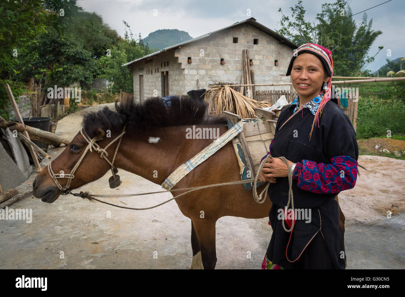 Red Dao woman and her horse on the farm of the Ly Dai Duyen Guest House, Nam Dan, Ha Giang Province, Vietnam. - Stock Image
