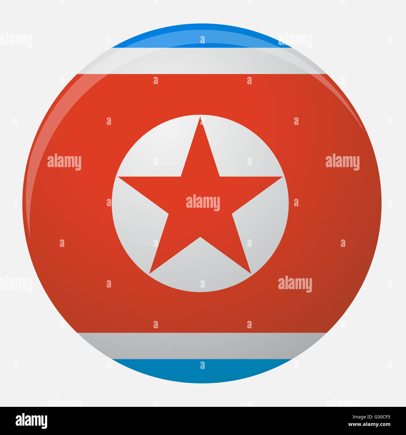 North Korea Flag Icon Flat Country National Symbol Illustration And