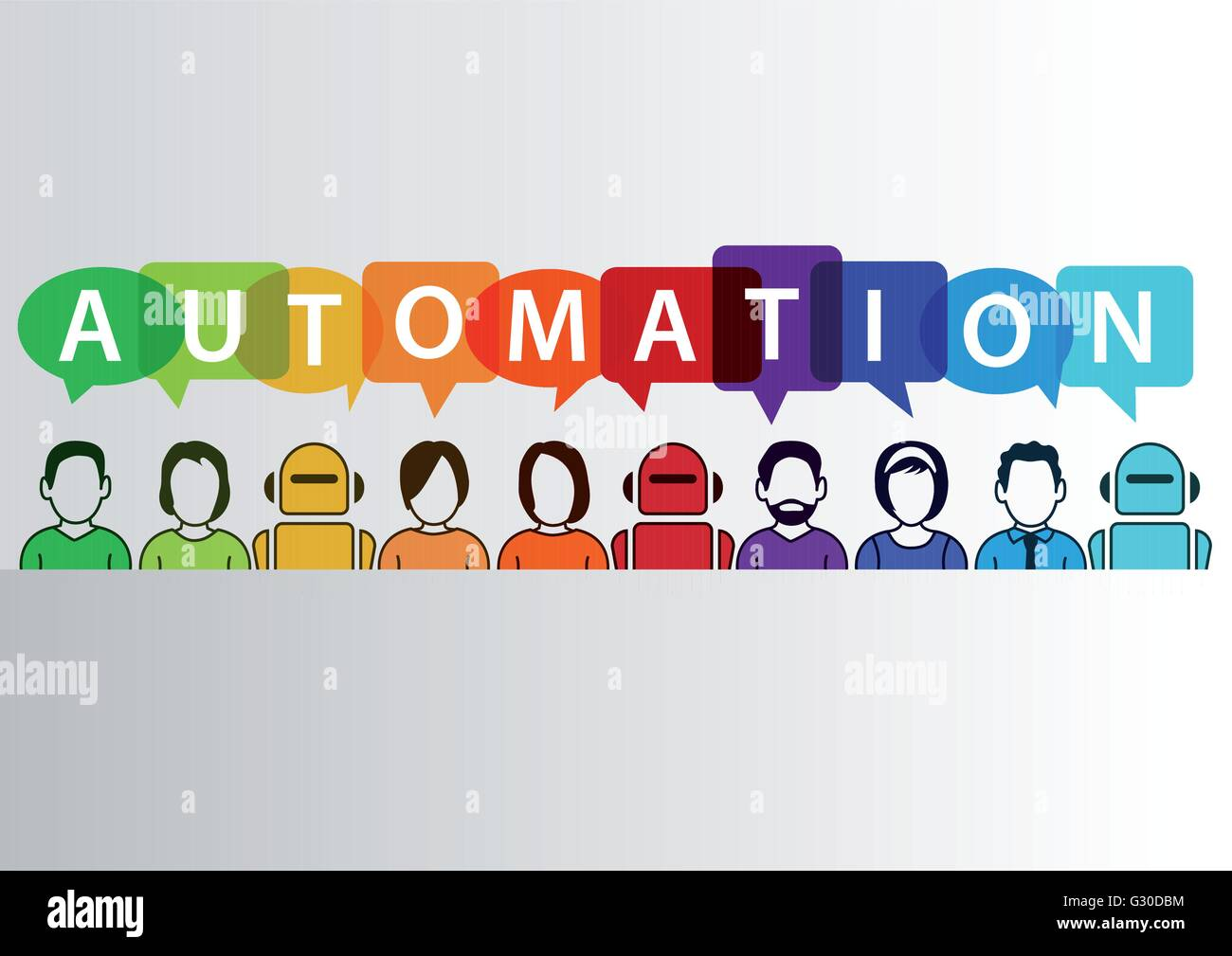 Process automation concept as background. Vector illustration of mixed group of people and machines and robots - Stock Image