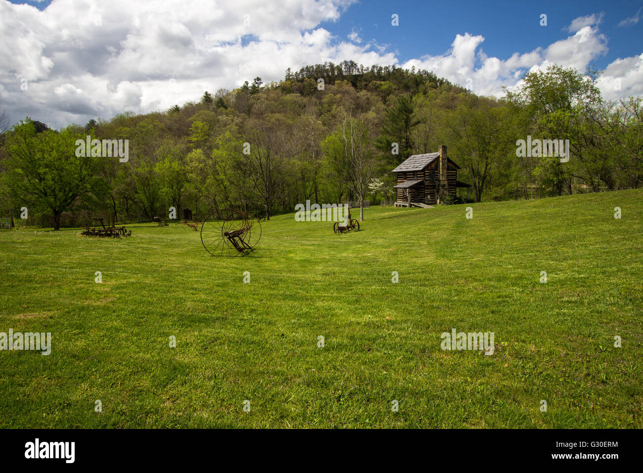 Historic Pioneer Farm In Kentucky. Farm and cabin at the Gladie Visitor Center in the Daniel Boone National Forest. - Stock Image