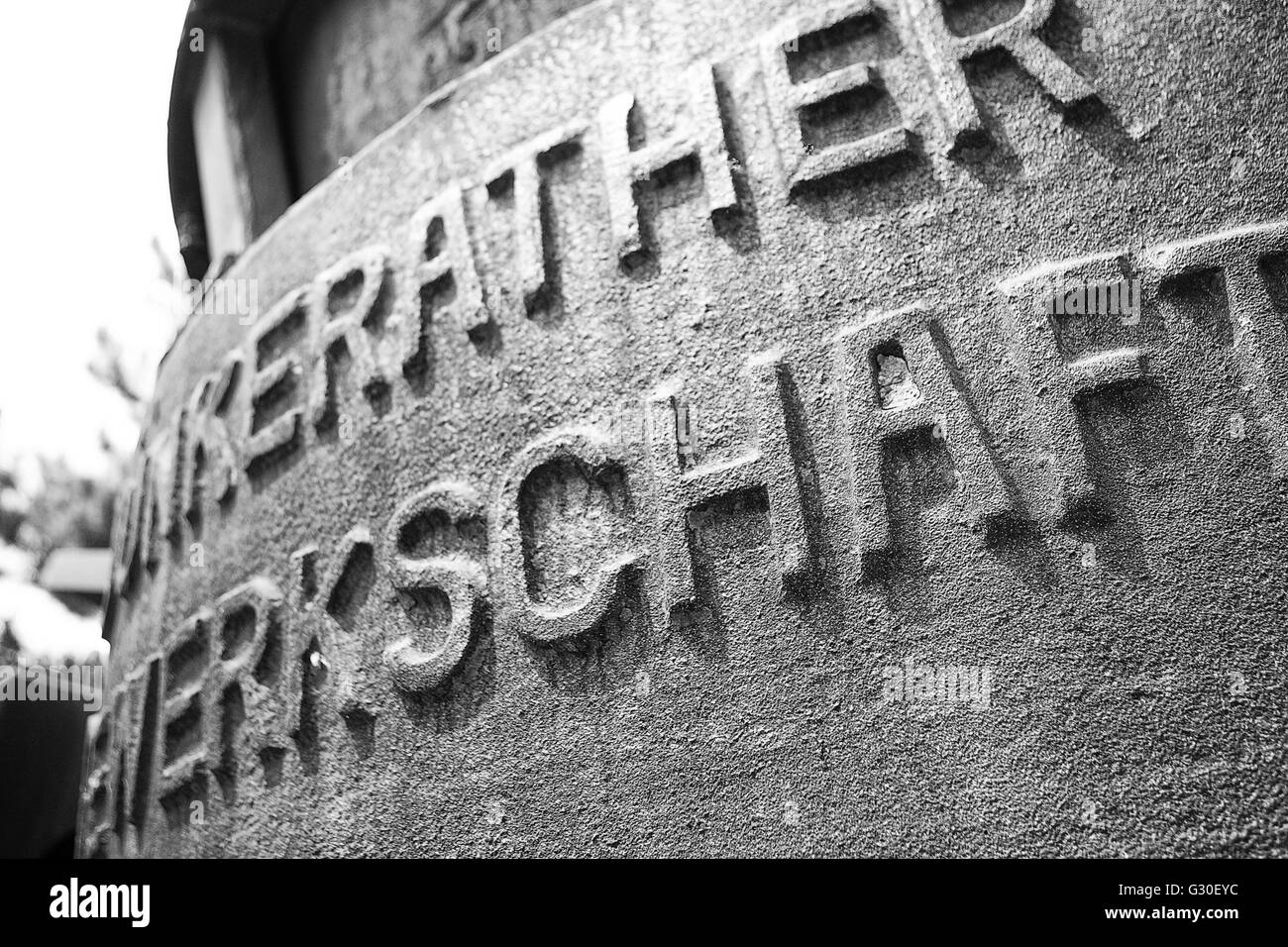 Closeup of the smelting tank with large letters. - Stock Image