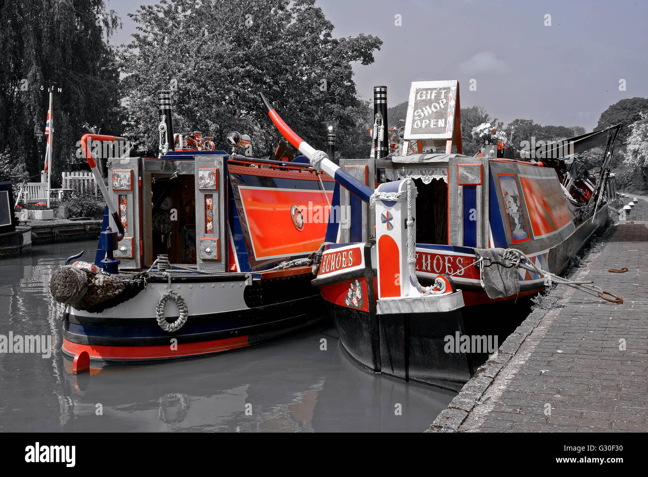 Typical boats on British Waterways. - Stock Image