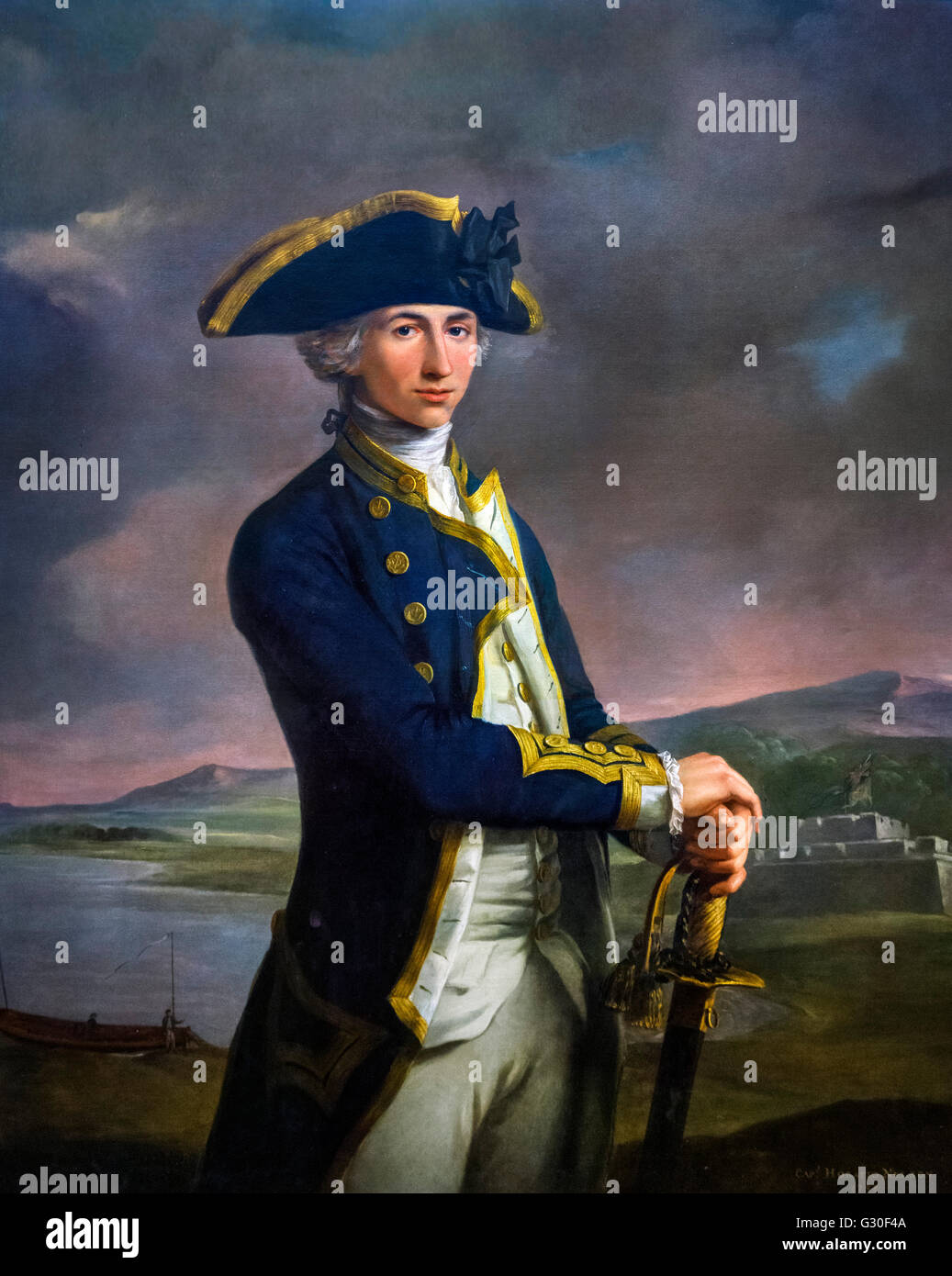 Captain Horatio Nelson by John Francis Rigaud, oil on canvas, 1781. This portrait shows the future Lord Nelson in - Stock Image