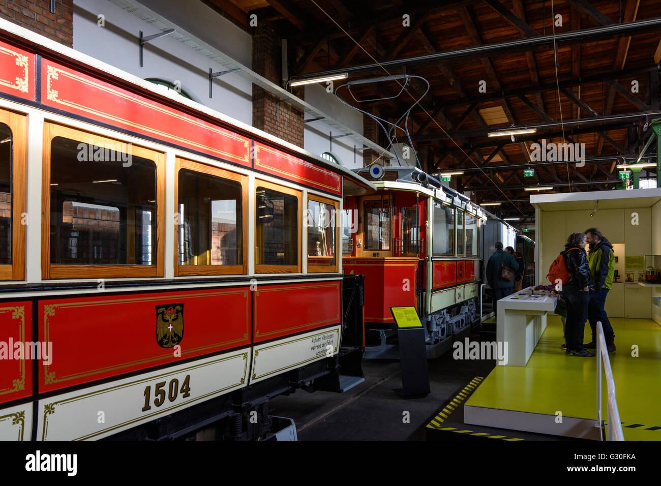 Transport Museum depot Wiener Linien : vintage trams, Austria, Wien 03., Wien, Vienna - Stock Image