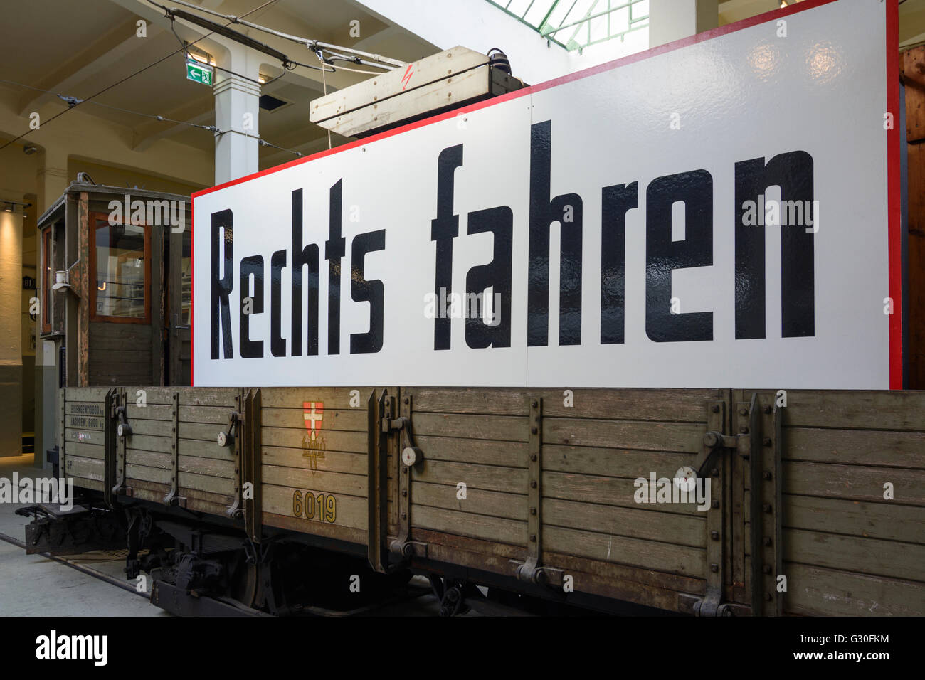 Transport Museum depot Wiener Linien : Snowplow auxiliary railcar as promotional car that after the German occupation - Stock Image
