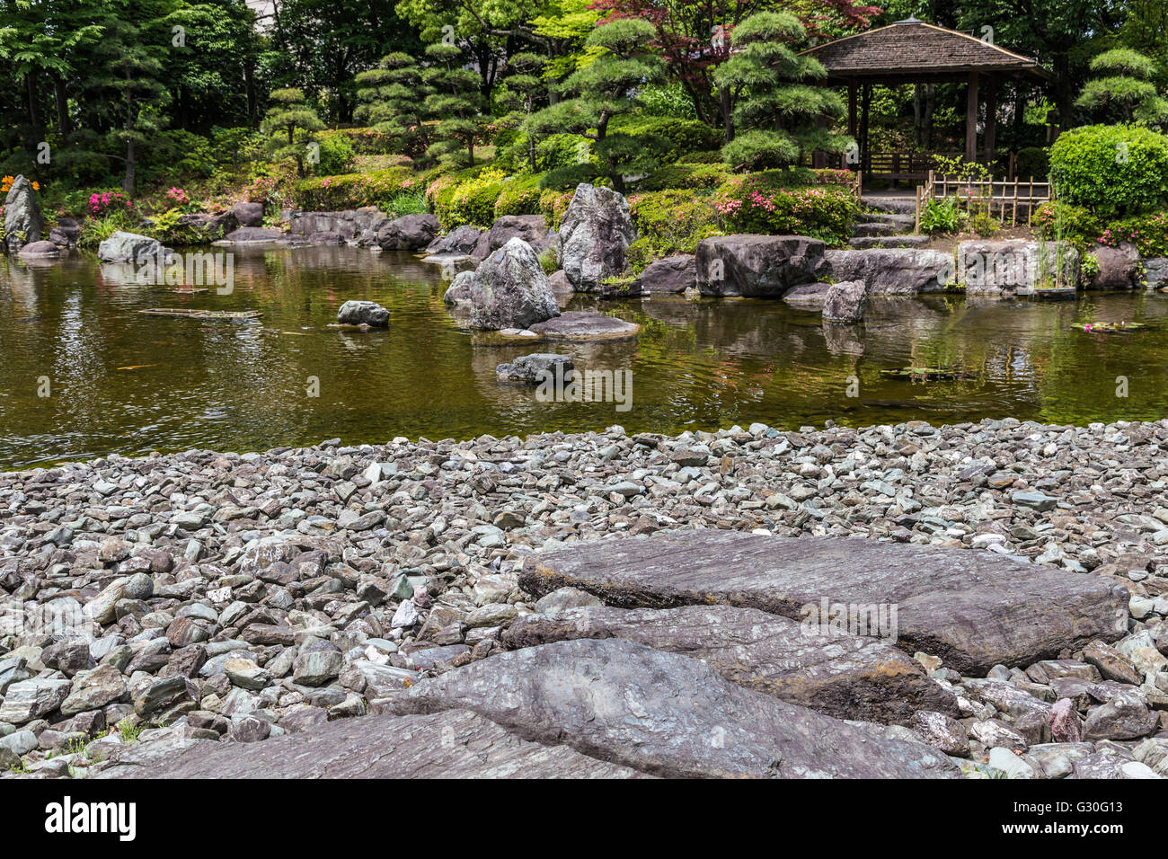 Hanahata Garden is a community Japanese garden in Adachi-ku Tokyo.  Although its formation is relatively modern - Stock Image
