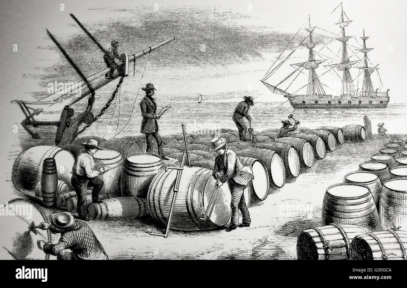 At the wharf - Gauging Whale Oil - 1830s - Stock Image