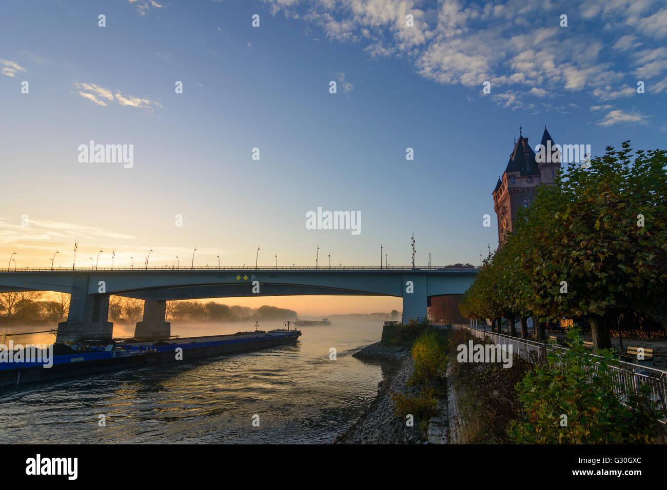 river Rhein (Rhine) at sunrise with Nibelungenbrücke , Nibelungen tower , cargo ship, Germany, hineland-Palatinate, - Stock Image