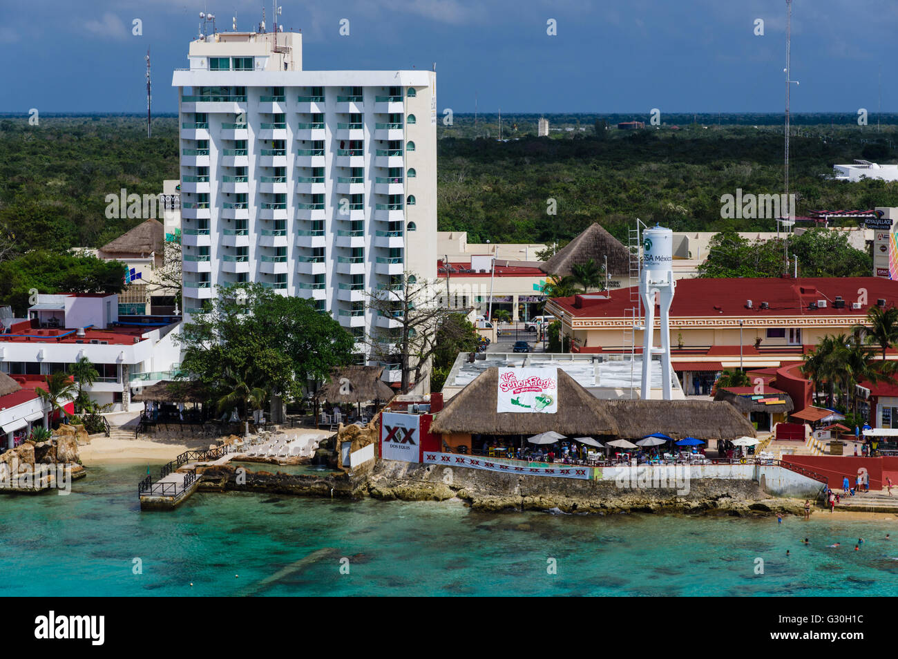 Senor Frog's bar on the beach at Cozumel. Cozumel, Mexico - Stock Image