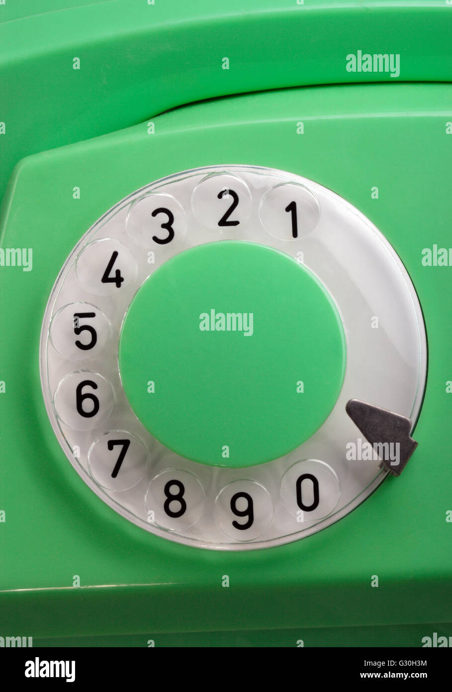 Old Green Rotary Telephone - Stock Image