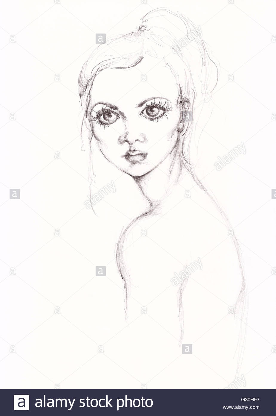 Fashion girl portrait with charcoal painting handmade pencil stock