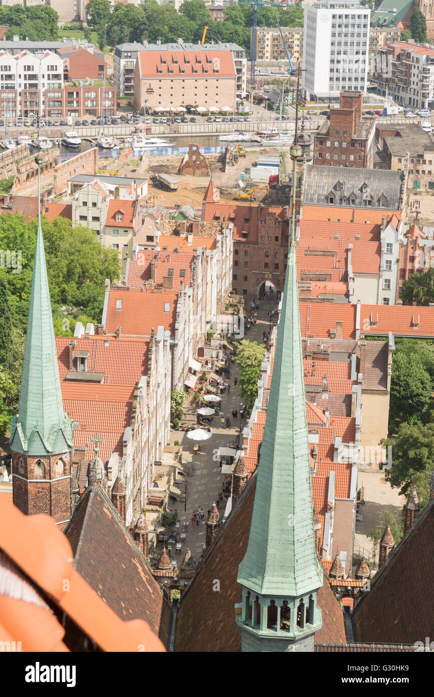 Mariacka Street, Gdansk, Poland - overhead view of one of the prettiest streets in Gdansk from St Mary's Church - Stock Image