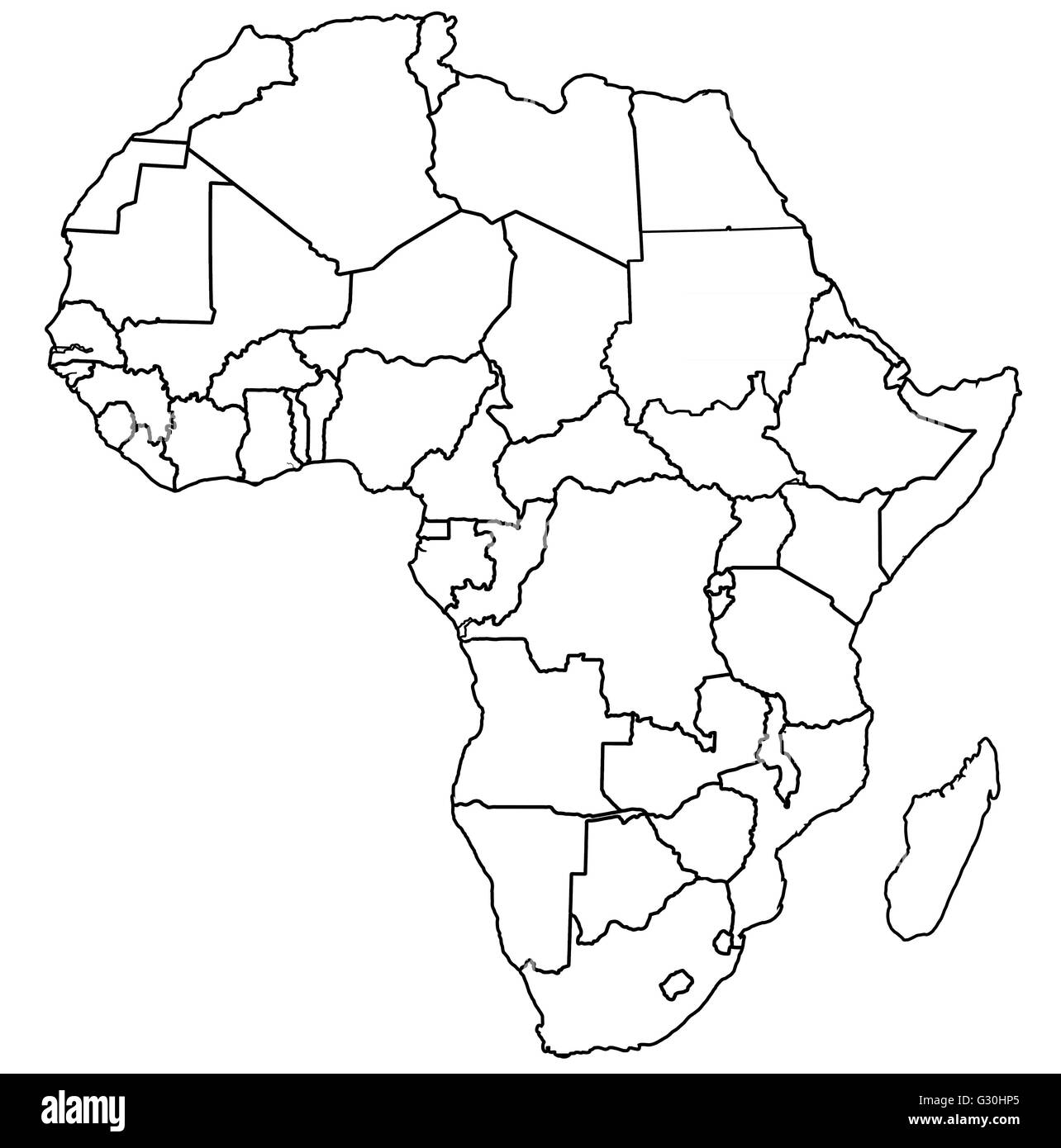 Africa Map Black And White Political Map Of Africa Black and White Stock Photos & Images   Alamy