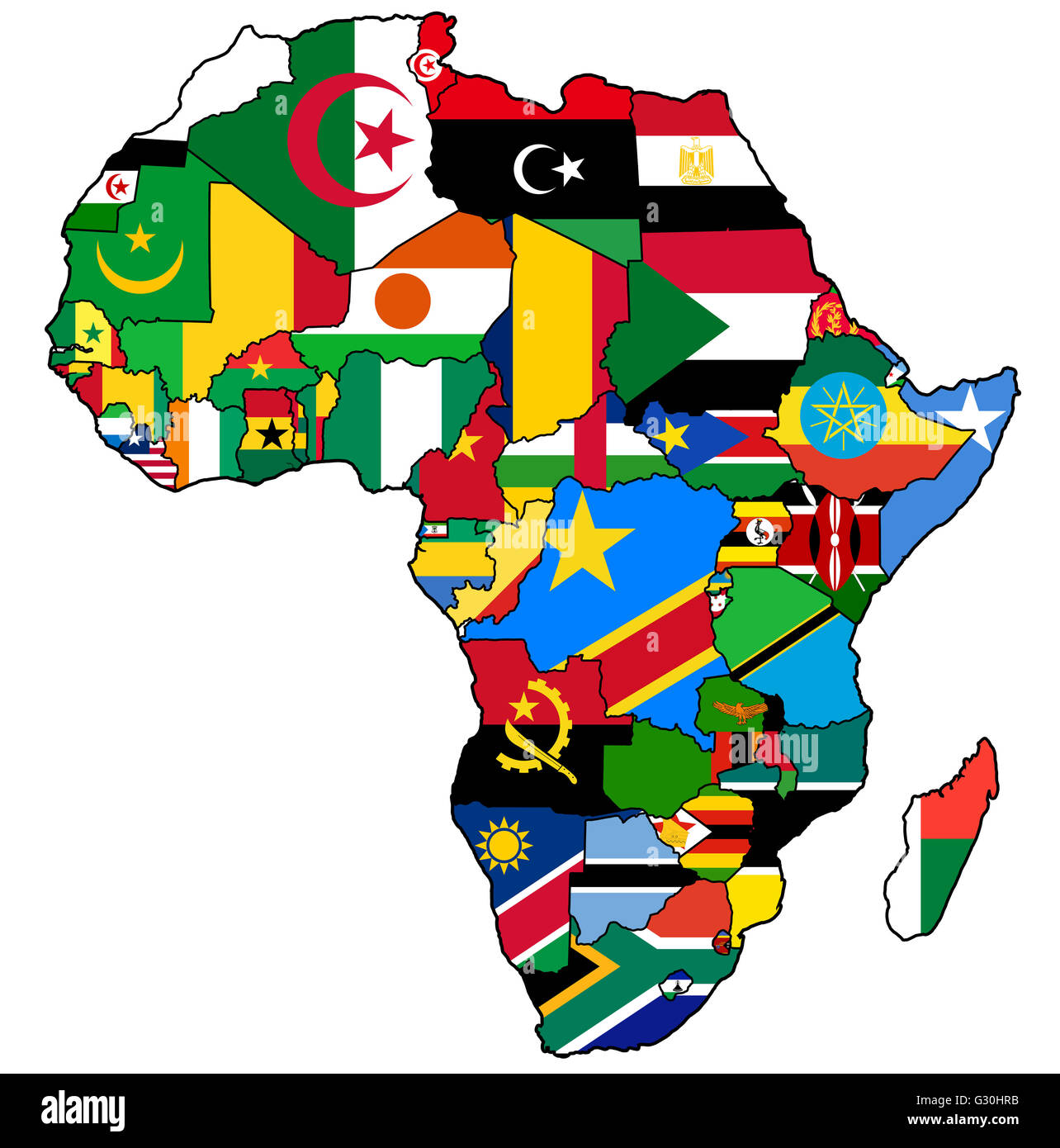 African Union Map.African Union On Actual Vintage Political Map Of Africa With Flags