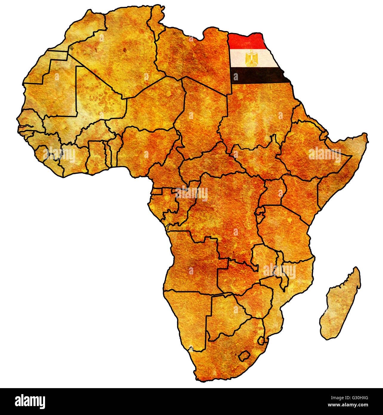 Egypt On Actual Vintage Political Map Of Africa With Flags