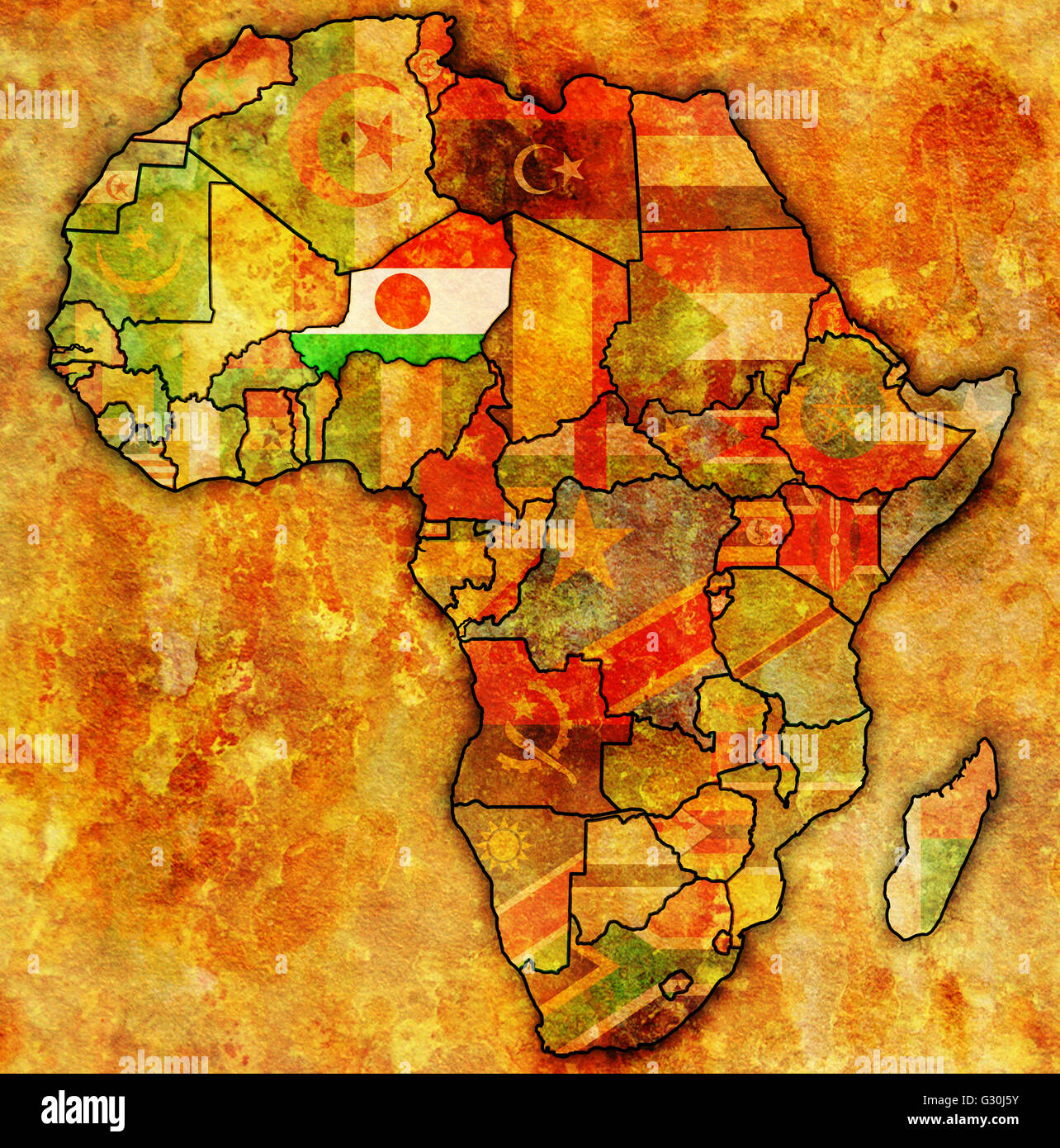 Niger On Actual Vintage Political Map Of Africa With Flags