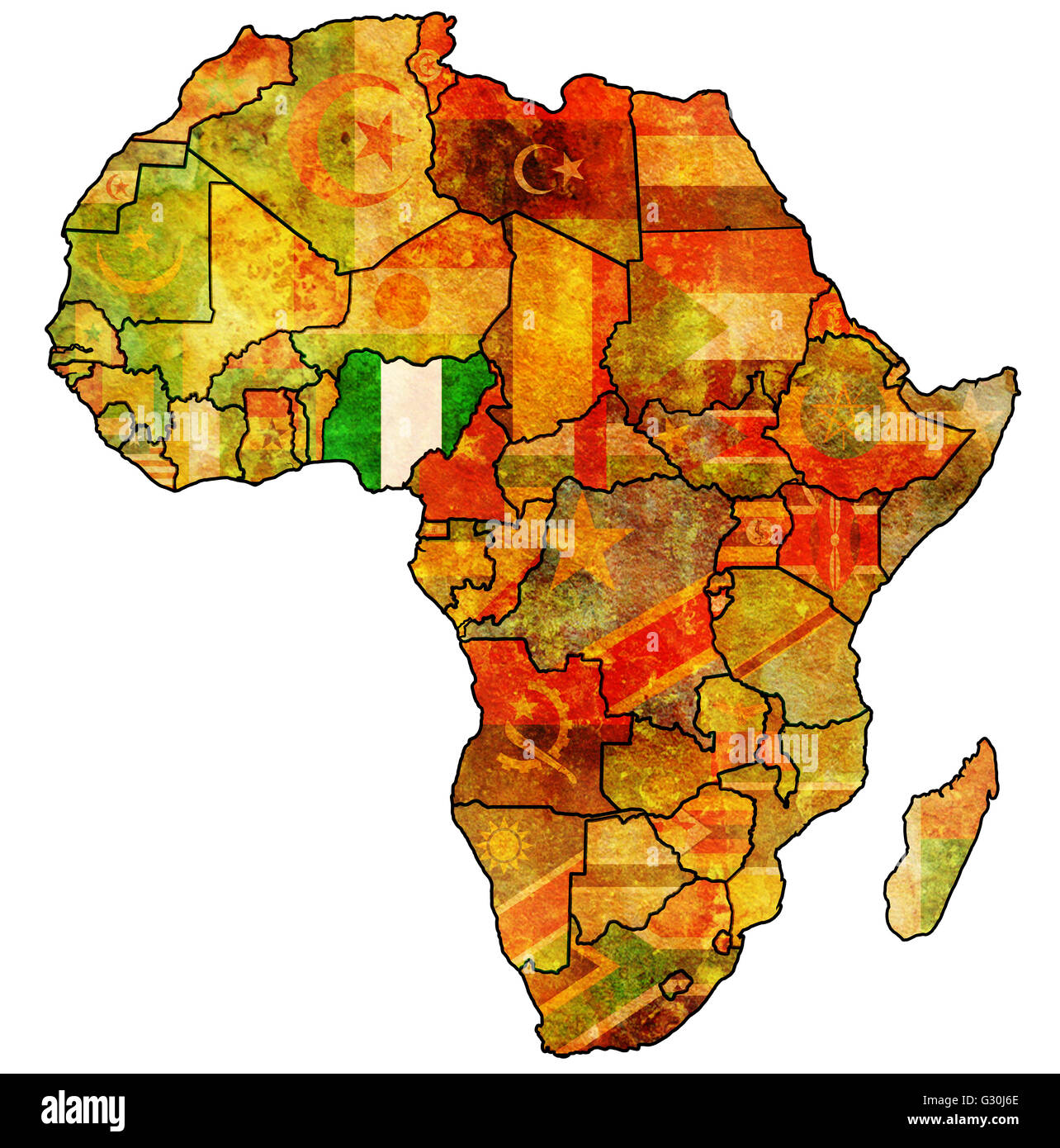 nigeria on actual vintage political map of africa with flags Stock ...