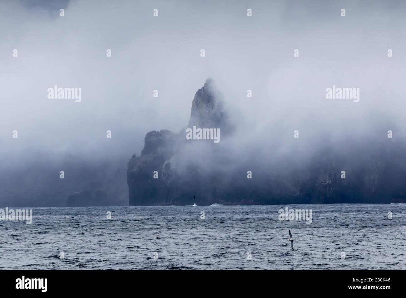 Jagged rocks at the Antipodes Islands, New Zealand sub-Antarctic - Stock Image