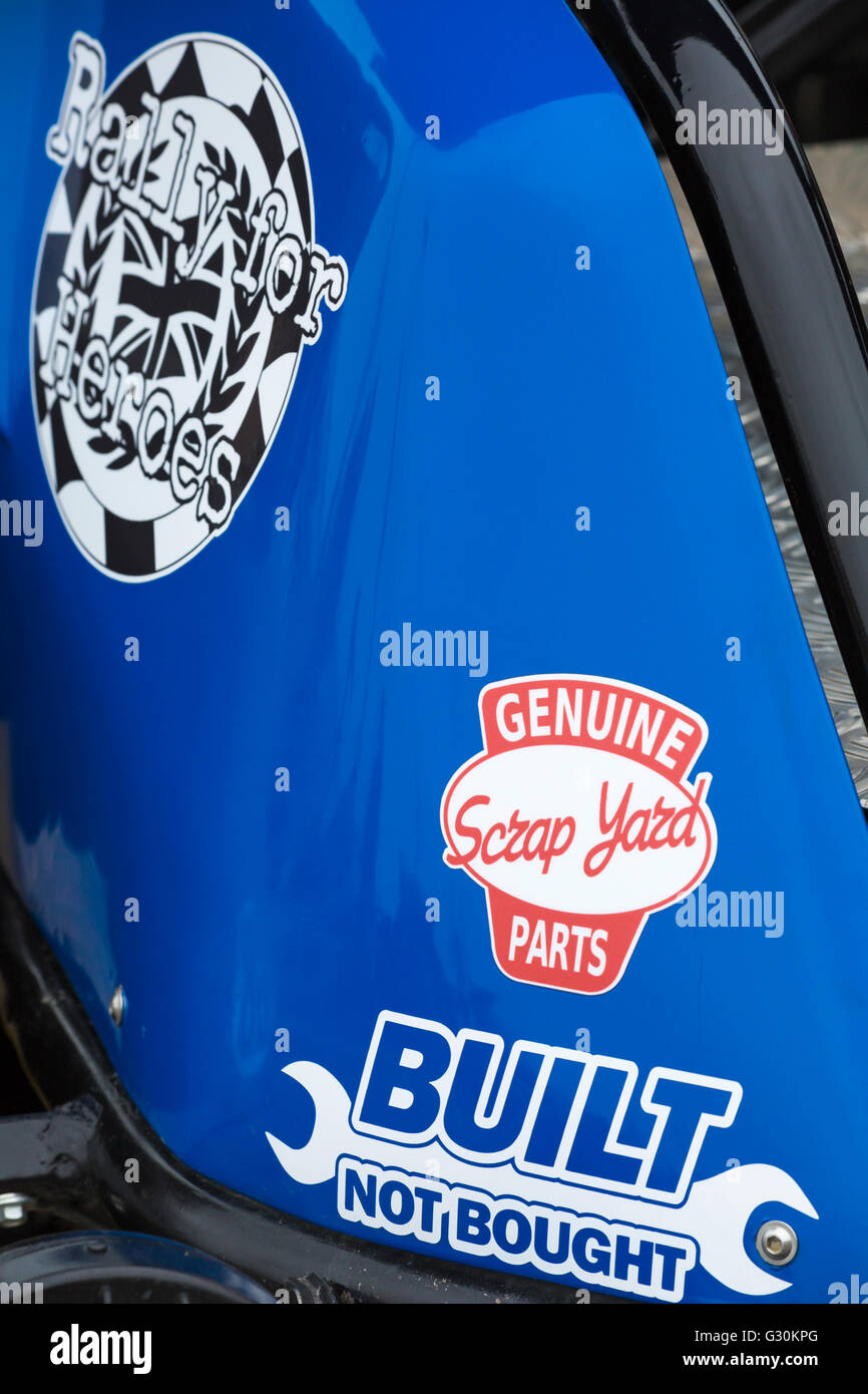 Genuine scrap yard parts, built not bought & Rally for Heroes sign on custom built car at Bournemouth Wheels - Stock Image