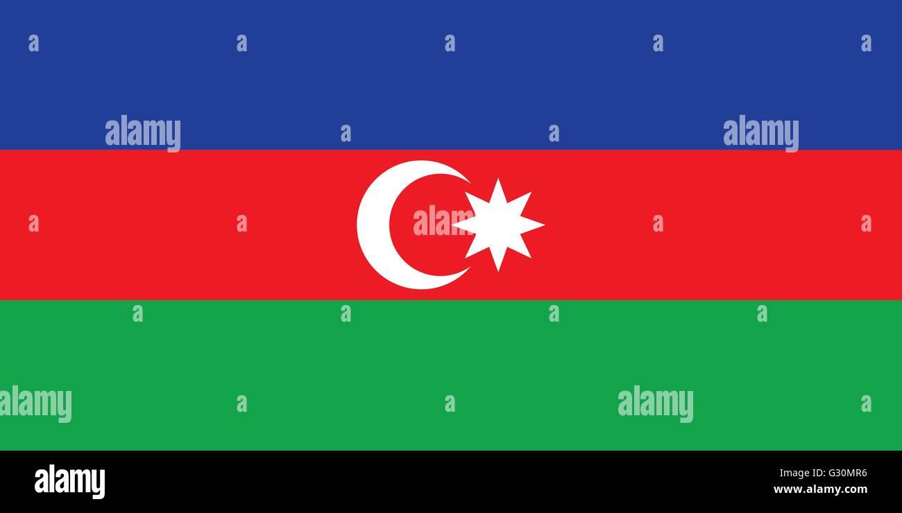 Vector of offficial flag of Azerbaijan country - Stock Vector