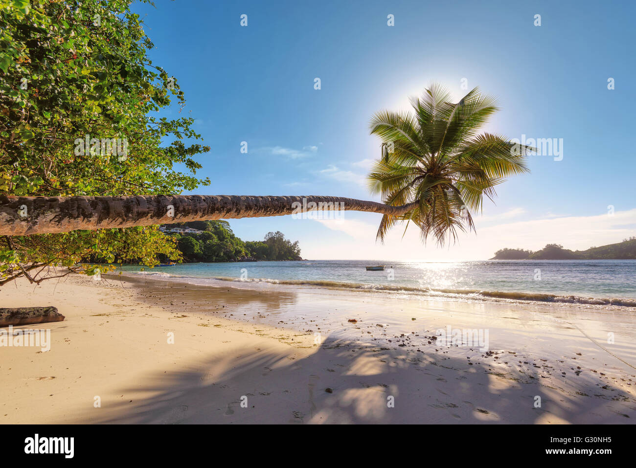 Sunset at the beach on Mahe island, Seychelles, Indian Ocean, Africa Stock Photo