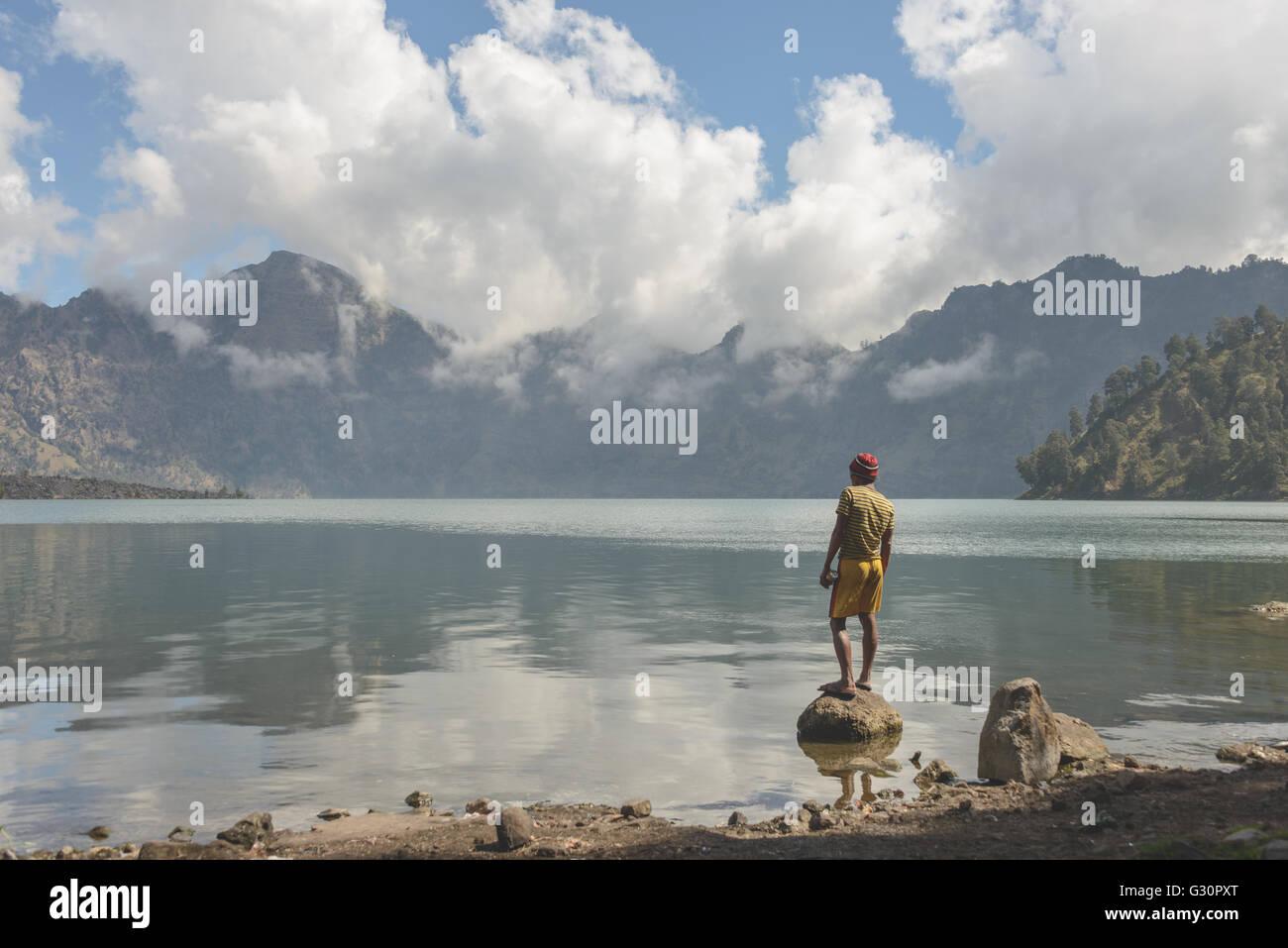 Crater Lake fishing on Mount Rinjani Stock Photo