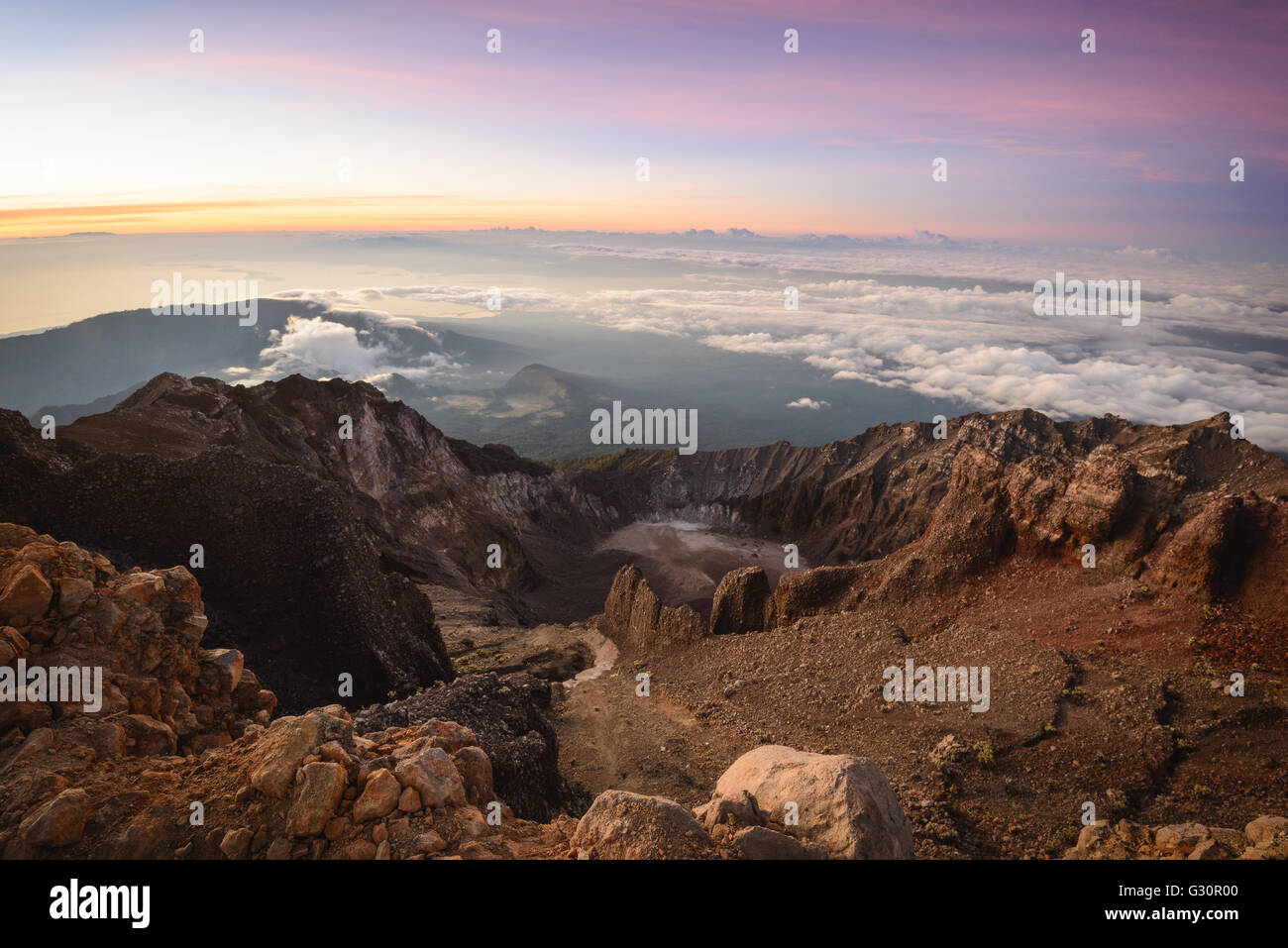 Looking out east from the summit of Mt. Rinjani in Lombok, Indonesia - Stock Image
