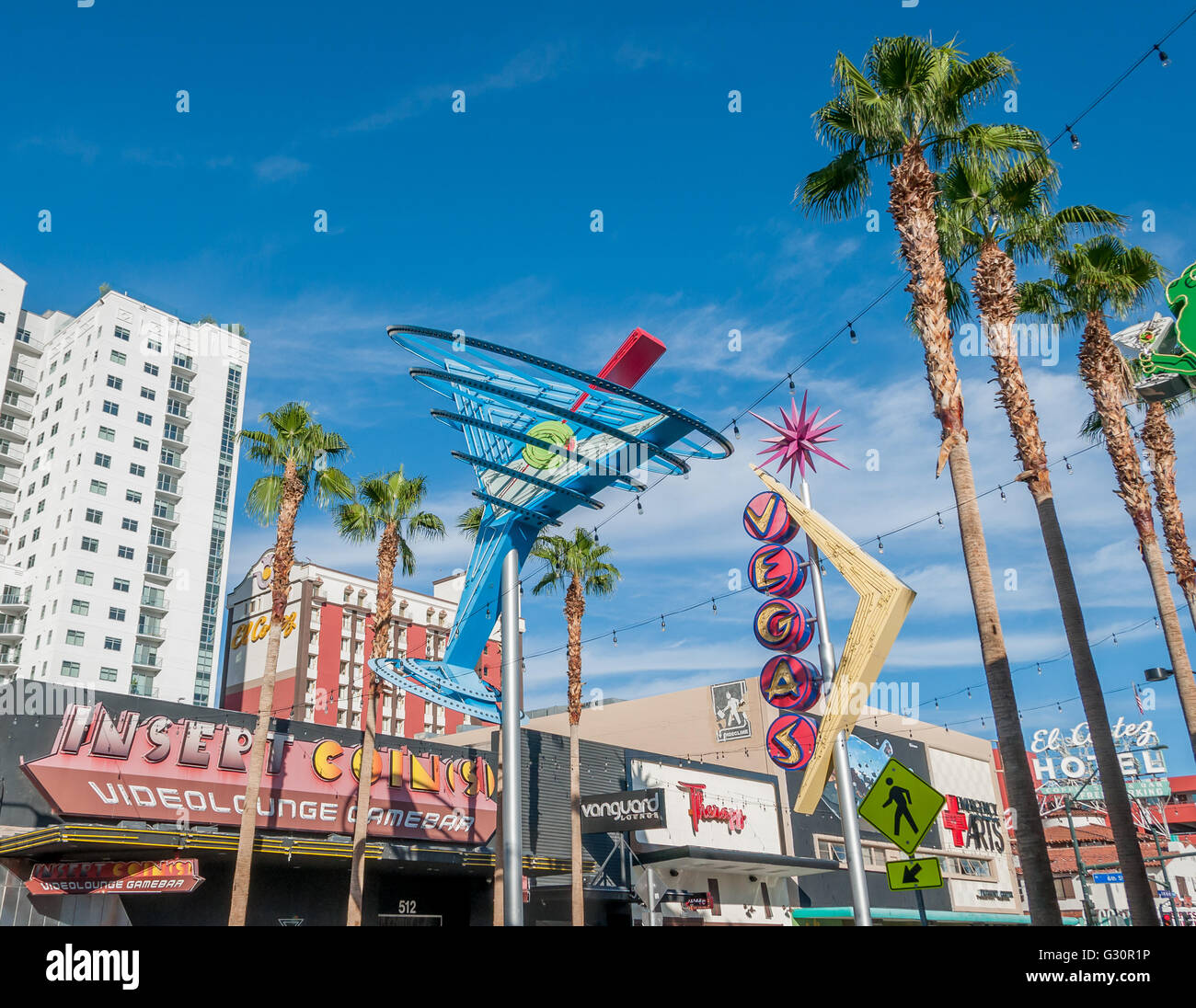 Fremont Street by day with martini glass and Vegas neon signs in Fremont East district of Las Vegas, El Cortez sign - Stock Image